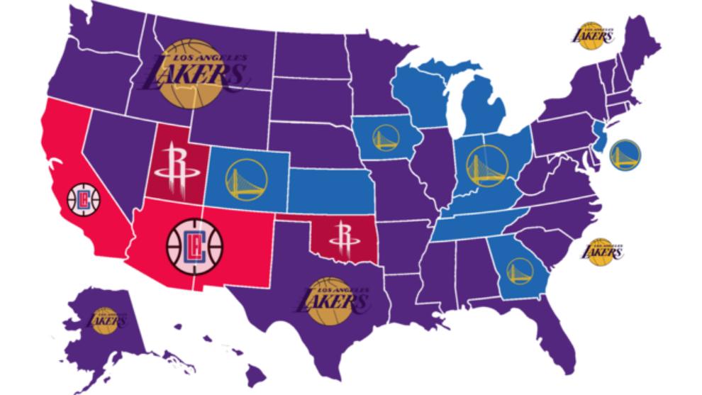 El mapa de los equipos más odiados de la NBA