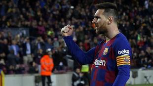 Leo Messi celebrando uno de sus goles al Celta.