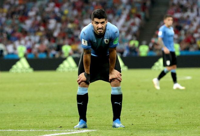 Luis Suárez, durante un partido con la selección uruguaya.