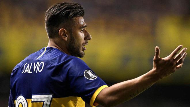 Salvio, durante un partido con Boca.