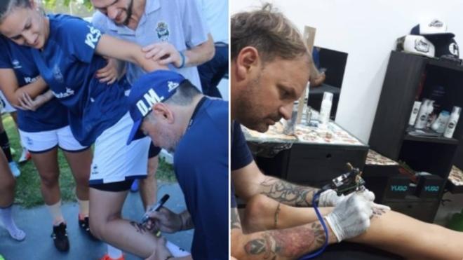 Maradona le firma la pierna a una jugadora de Gimnasia y ella ¡se lo...