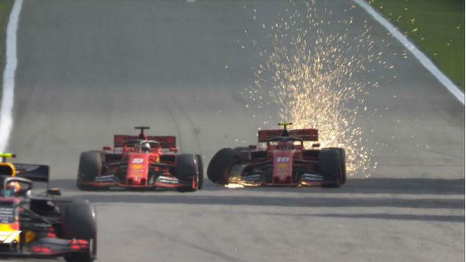 Leclerc y Vettel colisionan peleando por el podio