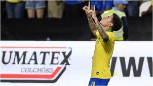 Coutinho festeja su gol ante Corea del Sur.