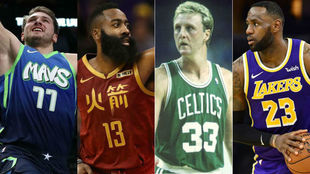 Luka Doncic, James Harden, Larry Bird y LeBron James.