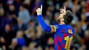 Leo Messi celebra un gol ante el Borussia Dortmund.