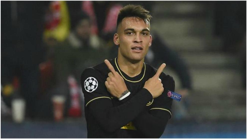 Lautaro Martínez celebra uno de sus goles en la victoria del Inter en...