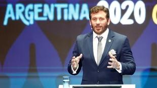 Alejandro Domínguez en el sorteo de la Copa América 2020