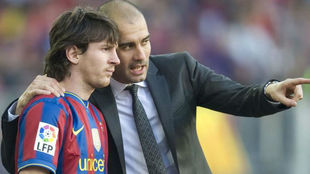 Leo Messi y Guardiola en Barcelona.
