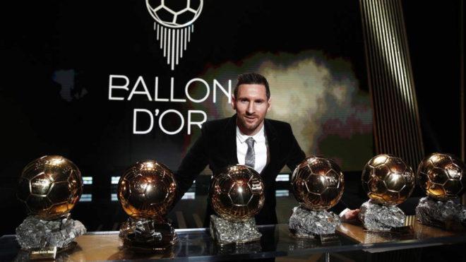 Leo Messi y sus seis balones de oro.