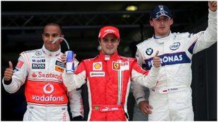 Hamilton, Massa y Kubica, en un podio.