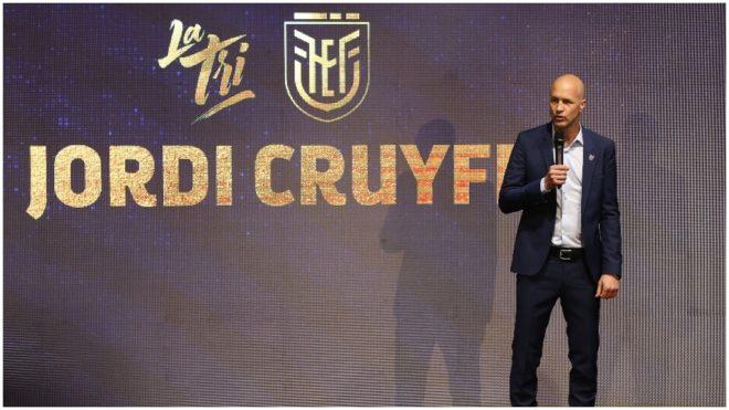 Jordi Cruyff habla durante su presentación como seleccionador de...
