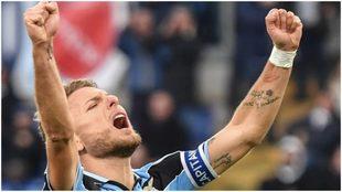 Immobile festeja uno de los tres goles que le hizo a la Sampdoria.