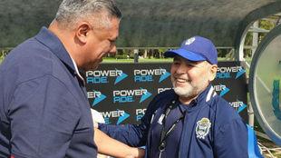 Claudio Tapia y Diego Maradona.