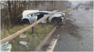 Así quedó el Lamborghini de Romero tras el accidente.