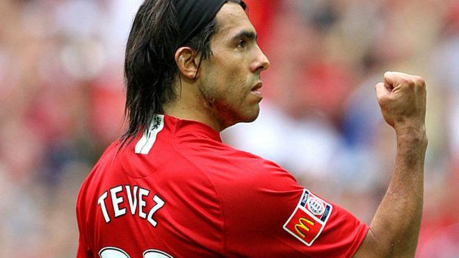 Carlos Tevez en el Manchester United.