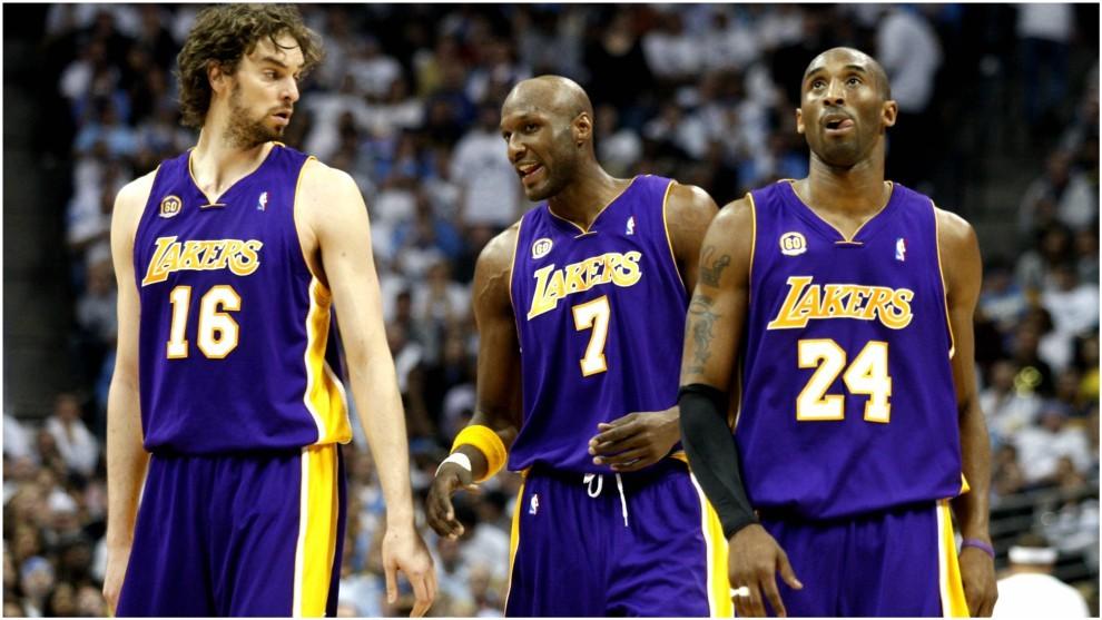 Gasol, Odom y Kobe, durante la etapa de los tres en los Lakers.