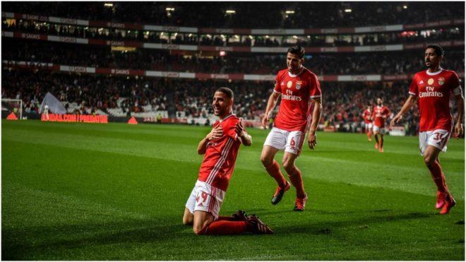 Adel Taarabt festeja su gol ante Belenenses.
