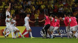 El festejo del gol de Nehuén, el segundo.