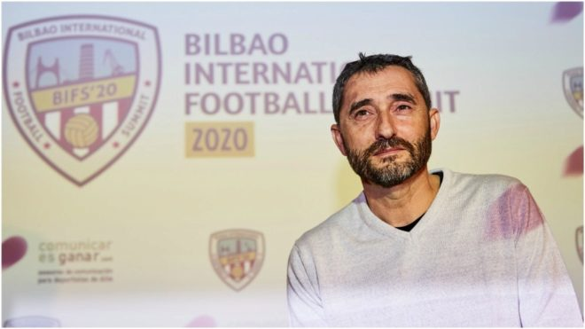 Valverde, durante el Bilbao International Football Summit 2020.