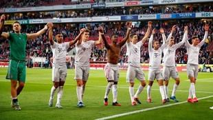 El Bayern celebra la goleada.