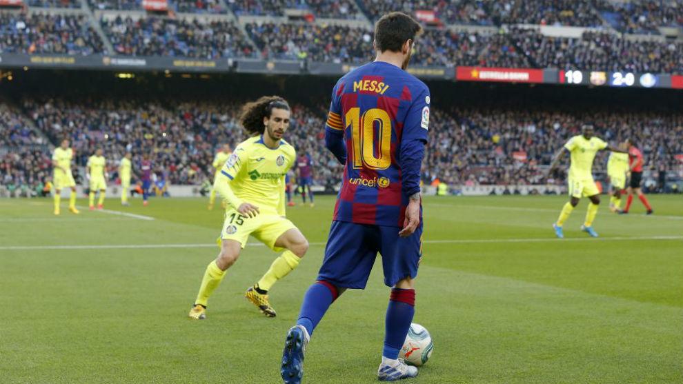 Leo Messi, durante el partido contra el Getafe.