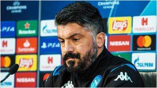 Gattuso, durante la conferencia de prensa previo al Nápoli-Barcelona.
