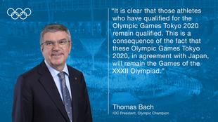 "Thomas Bach: ""Los atletas con plaza para Tokio 2020 siguen..."