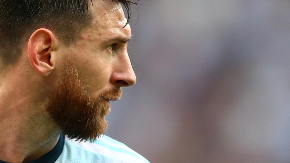 Leo Messi, durante un partido con el seleccionado argentino.