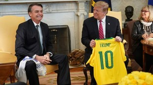 Bolsonaro, junto a Donald Trump, presidente de Estados Unidos.