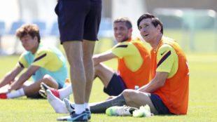Leo Messi durante un entrenamiento con el Barcelona.