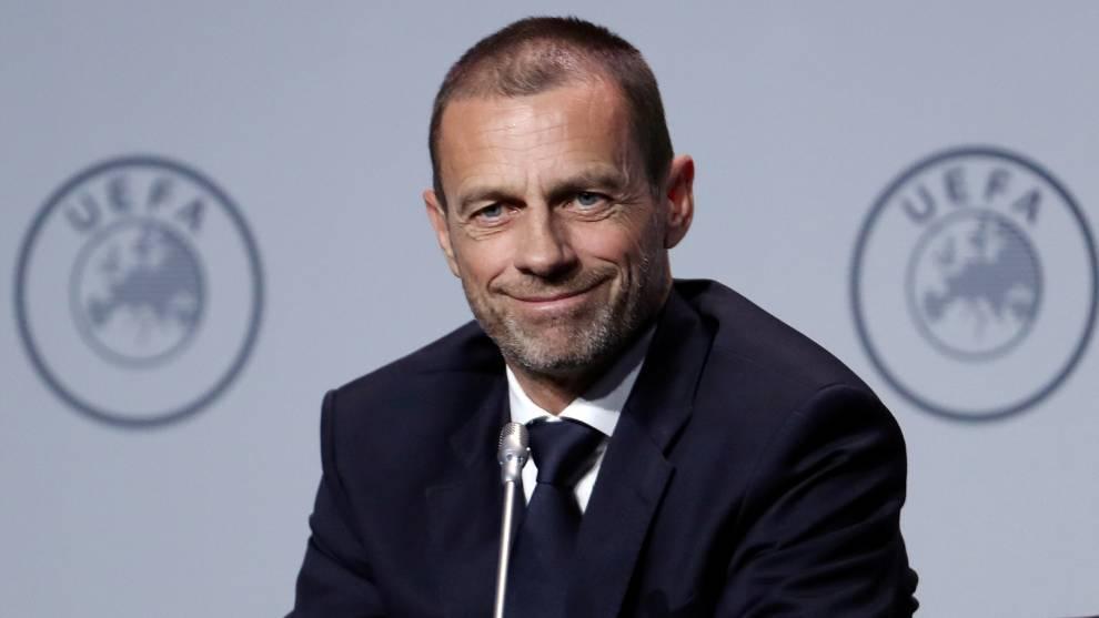 Aleksander Ceferin, presidente de la UEFA, durante una conferencia de...