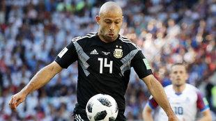 Mascherano, con la camiseta '14' de Argentina en un partido de la...