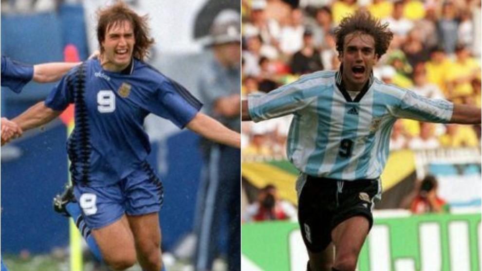 Gabriel Batistuta festejando goles en 1994 y 1998 con Argentina.