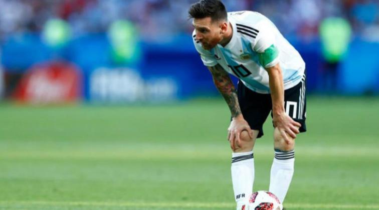 Messi, en un partido de la selección Argentina en un Mundial