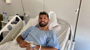 El Kun Agüero tras la operación.