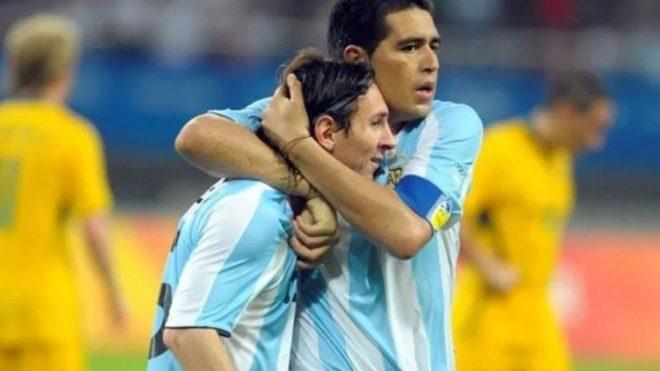Riquelme y Messi en Beijing 2008.