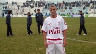 Daniel Osvaldo con la camiseta de Huracán.