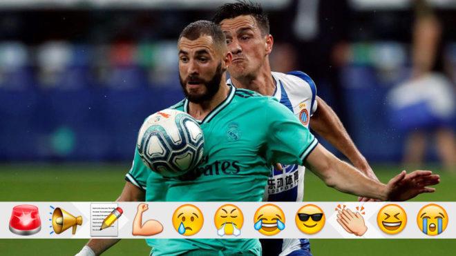 Benzema controla un balón ante Bernardo.