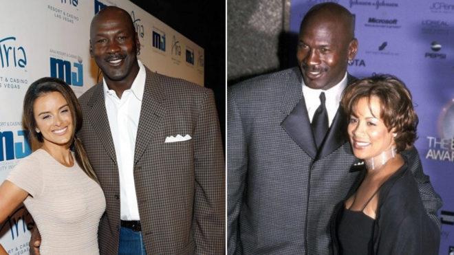 Michael Jordan, con su actual esposa, Yvette Prieto (iz), y con su ex...