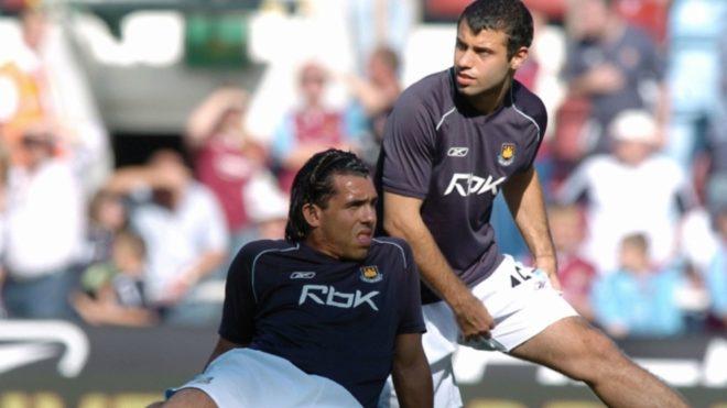 Carlos Tevez y Javier Mascherano en West Ham.