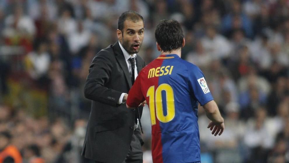 Guardiola, con Leo Messi en su época en el Barcelona.
