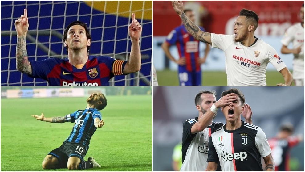 Leo Messi, Lucas Ocampos, Papu Gómez y Paulo Dybala, esta temporada.