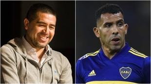 Juan Román Riquelme y Carlos Tevez