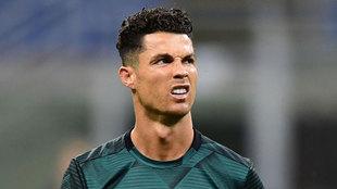 Cristiano Ronaldo, calentando antes de un partido de la Juventus