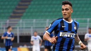 Lautaro, en acción durante un partido del Inter