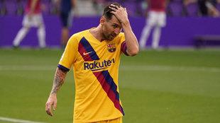 Leo Messi, fundido tras el partido ante el Valladolid