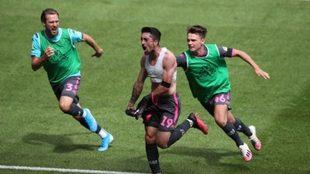Pablo Hernández festeja el gol del triunfo