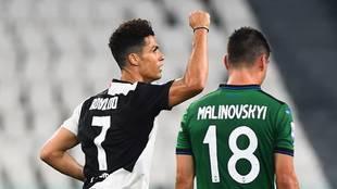 Así celebró Cristiano Ronaldo uno de sus goles ante el Atalanta.