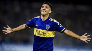 Bebelo Reynoso festeja un gol en Boca