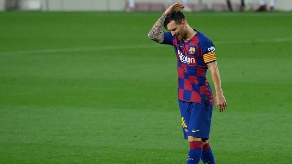 Leo Messi se lamenta durante un partido con el FC Barcelona.